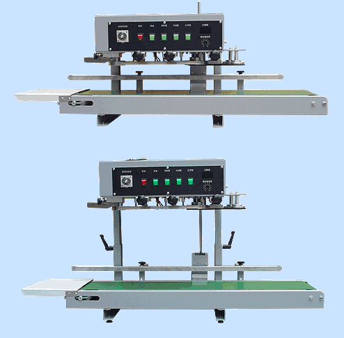 Continuous Band Sealer is a small model, performing vertical sealing operation. It combines the functions of bag sealing, knurling or printing. The variable conveyor belt speed is adjustable to accommodate materials of various thickness.
